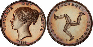 Click now to see the BUY IT NOW Price! ISLE OF MAN. VICTORIA 1859 CU PENNY. PCGS PR63BN WILLIAM WYON TRISKELION. KM 14
