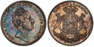 Click now to see the BUY IT NOW Price! SWEDEN OSCAR I. 1848 AG AR RIKSDALER. PCGS MS62 DAV. 354. ATTRACTIVELY TONED.