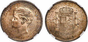 Click now to see the BUY IT NOW Price! PUERTO RICO. ALFONSO XIII. 1895 PGV AR PESO. NGC MS63. KM 24.