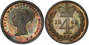 GREAT BRITAIN VICTORIA 1848 AR MAUNDY FOURPENCE. PCGS PL66 PL  PROOFLIKE  S 3917