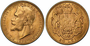 Click now to see the BUY IT NOW Price! ROMANIA. FERDINAND I. 1922  A  AV 20 LEI. PCGS MS63.  BRUSSELS MINT X M1; FR. 10