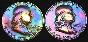 1948 D 1948 P  2  FRANKLIN HALF DOLLAR VG F  FULL STAGE TONED 2 10 2
