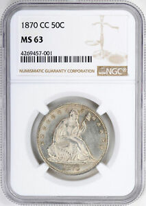 Click now to see the BUY IT NOW Price! 1870 CC LIBERTY SEATED 50C PCGS MS 63