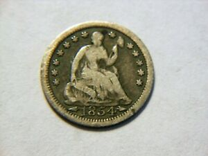 1854 P VG  SILVER SEATED LIBERTY HALF DIME  NICE VINTAGE COIN FOR A COLLECTION