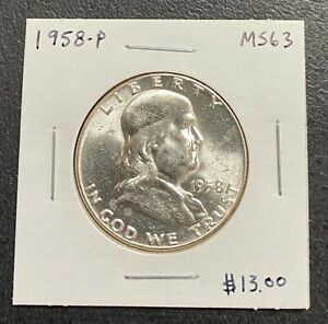 1958 P FRANKLIN HALF DOLLAR   MS/UNC    CONDITION  $2.95 MAX SHIPPING  C3392