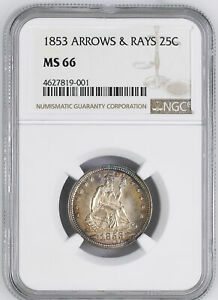 Click now to see the BUY IT NOW Price! 1853 LIBERTY SEATED 25C NGC MS 66