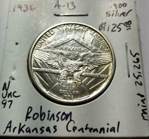 1936 ARKANSAS CENTENNIAL ROBINSON COMMEMORATIVE HALF DOLLAR