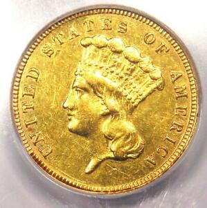 1882 THREE DOLLAR INDIAN GOLD COIN $3   ICG CERTIFIED   AU DETAILS    DATE