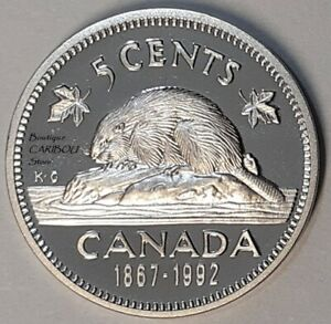 1992 CANADA PROOF 5 CENTS