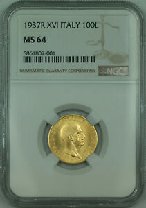 Click now to see the BUY IT NOW Price! 1937 R XVI ITALY 100 LIRE GOLD COIN     249 MINTAGE  NGC MS 64 KM 84