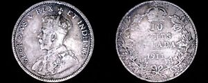 1911 CANADA 10 CENT WORLD SILVER COIN   CANADA   GEORGE V
