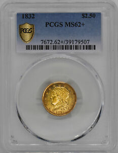 1832 CAPPED BUST $2.5 PCGS MS 62