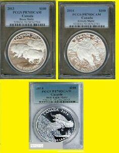 Click now to see the BUY IT NOW Price! 2013 14 CANADA 3X$100 3 COINS SILVER BISON BEAR EAGLE PCGS PR 70 DC