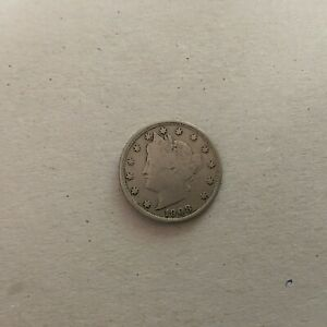 UNITED STATES  5 CENTS 1908 KM  112  FINE.