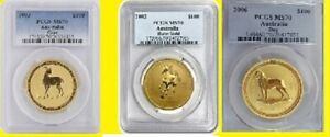 Click now to see the BUY IT NOW Price! AUSTRALIA GOLD 02 03 06 LUNAR 3 COINS SET 3 OZ PURE GOLD PCGS MS 70 LOW POP