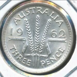 AUSTRALIA 1962 M  THREEPENCE 3D ELIZABETH II  SILVER    ALMOST UNCIRCULATED