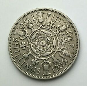 DATED : 1959   ONE FLORIN   2 SHILLING COIN   QUEEN ELIZABETH II   GREAT BRITAIN