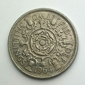 DATED : 1964   ONE FLORIN   2 SHILLING COIN   QUEEN ELIZABETH II   GREAT BRITAIN