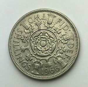 DATED : 1966   ONE FLORIN   2 SHILLING COIN   QUEEN ELIZABETH II   GREAT BRITAIN
