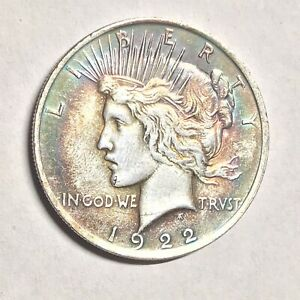 1922  SILVER PEACE DOLLAR WITH DIE CRACK ERROR AND BEAUTIFUL TONING SWEET COIN