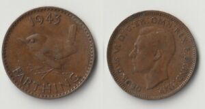 1943 GREAT BRITAIN FARTHING COIN