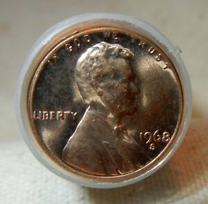 1968 S LINCOLN PENNY ROLL 50 COINS. BRIGHT FINISHES; FROM MY DAD'S COLLECTION