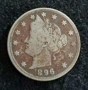 NICE 1896 LIBERTY HEAD NICKEL WITH FINE DETAILS