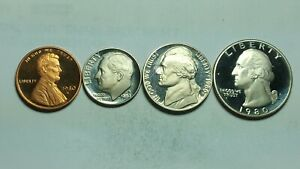 1980 S PROOF SETS WASHINGTON QUARTER JEFFERSON NICKEL DIME & PENNY BU 4 COIN