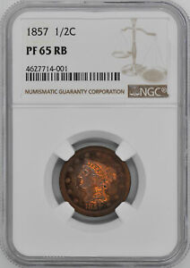 Click now to see the BUY IT NOW Price! 1857 BRAIDED HAIR 1/2C NGC PR 65 RB