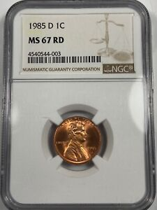 1985D LINCOLN CENT NGC MS67 RED