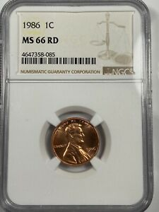 1986 LINCOLN CENT NGC MS66RD BEAUTY