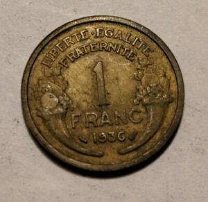 1936 FRANCE FRENCH ONE 1 FRANC HEAD OF REPUBLIC MARIANNE COIN KM 885 25.2