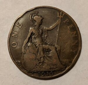 GREAT BRITAIN 1 PENNY 1919 KM 810 H MINTMARK STRUCK BIRMINGHAM MINT  3M