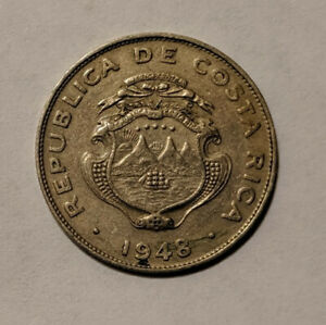 COSTA RICA 25 CENTIMOS 1948 COPPER NICKEL KM175SAT