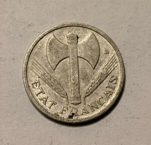 1942 FRANCE 50 CENTIMES WWII NAZI VICHY FRENCH STATE KM 914.4 18F