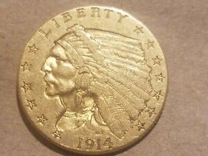 Click now to see the BUY IT NOW Price! 1914 P $2.50 GOLD INDIAN HEAD QUARTER EAGLE COIN 2 1/2 DOLLAR NICE