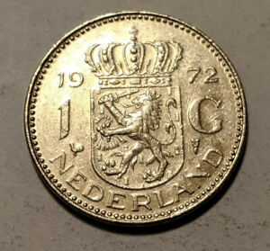 NETHERLANDS 1 GULDEN 1972 KM 184A AU JULIANA 17A