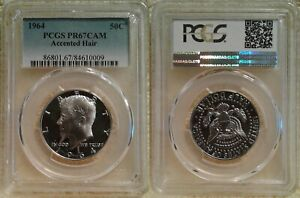 ONE PCGS PR67CAM 1964 KENNEDY ACCENTED HAIR SILVER HALF DOLLAR VALUED AT $400.00