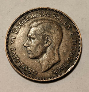 1945 UK GREAT BRITAIN BRITISH ONE 1 PENNY KING GEORGE VI COIN KM 845 VF  7D