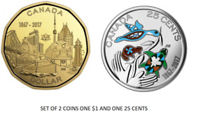 CANADA 2017 NEW LOONIE 150TH CONNECTING A NATION AND 25 CENT COLO  BU FROM ROLL