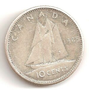 1965 CANADA 10 CENTS COIN