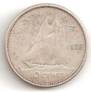 1958 CANADA 10 CENTS COIN