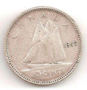 1949 CANADA 10 CENTS COIN