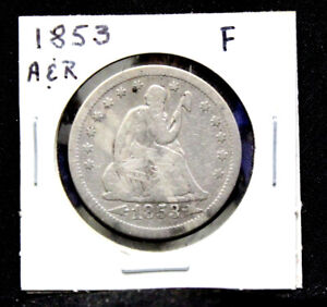 1853 ARROW & RAYS SEATED LIBERTY QUARTER IN FINE CONDITION  SQ152