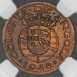 Click now to see the BUY IT NOW Price! 1948 ANGOLA 20 CENTAVOS NGC MS64RB ONLY 5 GRADED HIGHER DEEP GREEN TONED  DR