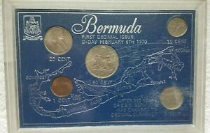 BERMUDA FIRST DECIMAL ISSUE TYPE SET D DAY 1970'S WORLD COINS