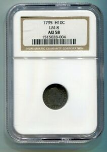 1795 FLOWING HAIR HALF DIME NGC AU 58 LM 8 R 3 ORIGINAL COIN FROM BOBS COINS