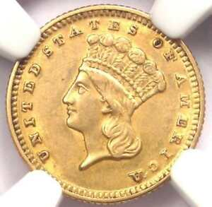 1870 INDIAN GOLD DOLLAR COIN G$1   CERTIFIED NGC AU DETAILS    DATE