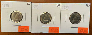3 X 1970 CANADIAN 10 CENT BRILLIANT UNCIRCULATED  BU  CONDITION
