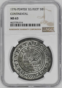 Click now to see the BUY IT NOW Price! 1776 EG FECIT PEWTER $1 NGC MS 63